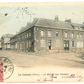 Carte postale du marché aux chevaux de Le Cateau