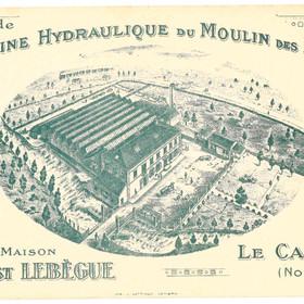 Carte postale de l'usine hydraulique du moulin des Prés de la maison Ernest Lebègue
